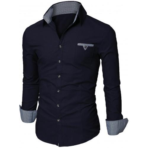 Camisa Azul Apliques a Cuadros Tipo Ingles