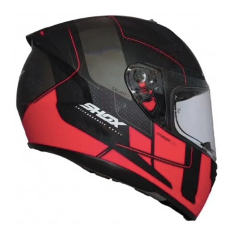 Casco Shox Stinger Gal Negro/Rojo Mate